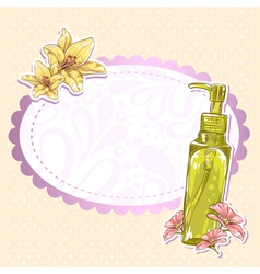Skincare make-up bottle isolated card vector