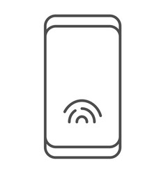 smartphone with fingerprint sensor thin line icon vector image