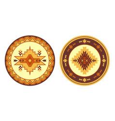 Southwest american aztec navajo round rug vector