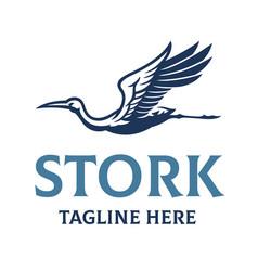 Stork bird elegant logo style vector