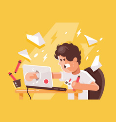 stressed angry young man crashed laptop at work vector image