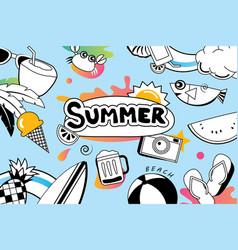 Summer doodle symbol and objects icon design for vector
