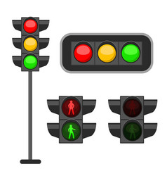 traffic light led lights red yellow vector image