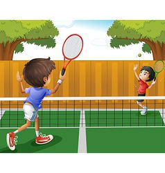 Two boys playing tennis vector