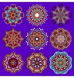 Violet colour circle lace ornament vector