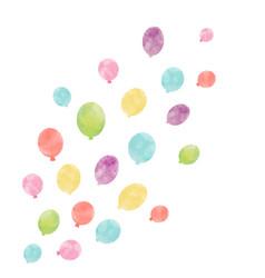 Watercolor air baloon composition vector