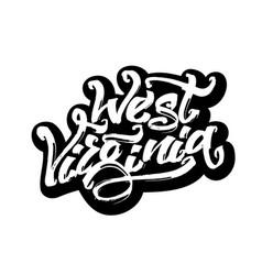 west virginia sticker modern calligraphy hand vector image