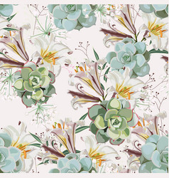 white royal lilies flowers pattern vector image