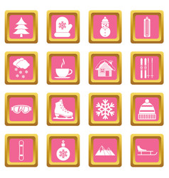 winter icons pink vector image