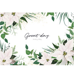 winter season invite greeting floral design vector image