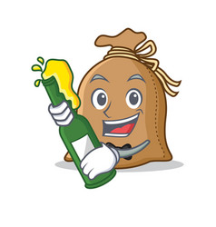 With beer sack mascot cartoon style vector