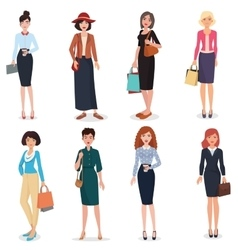 Women adult in business office and fashion clothes vector