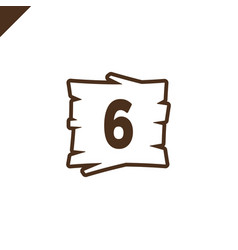 wooden alphabet blocks with number 6 in wood vector image