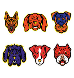 Working dogs mascot collection set vector