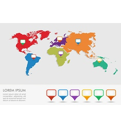 World map geo position pointers infographics eps10 vector