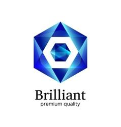 Blue shiny polygonal hexagon diamond icon vector image vector image