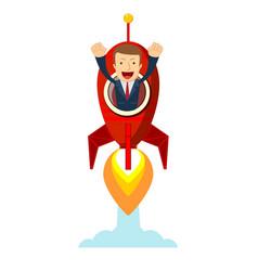 businessman in a rocket business start up concept vector image
