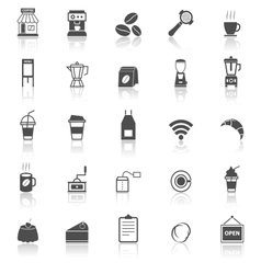Coffee shop icons with reflect on white background vector image vector image