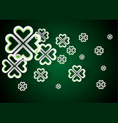 green background with four leaf clovers st vector image vector image