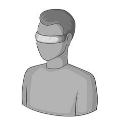 man in futuristic glasses icon monochrome vector image