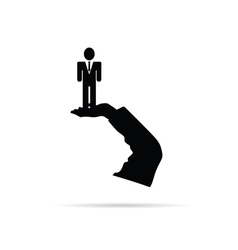 businessman in hand silhouette vector image vector image