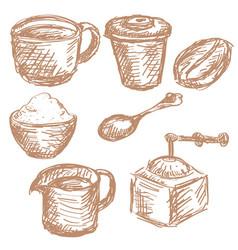 coffee set vintage items hand drawn sketch vector image