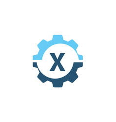 gear solution logo initial x vector image vector image