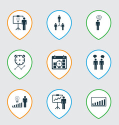 set of 9 administration icons includes solution vector image vector image