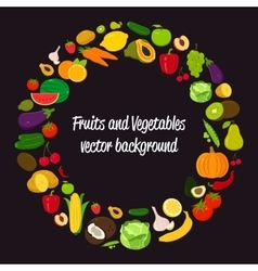 Vegetable circle background Fruits and vector image