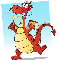 Happy Red Fire Breathing Dragon Dancing vector image vector image