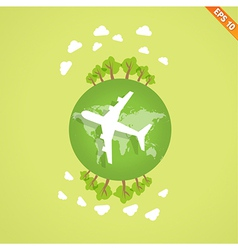 Plane over the earth for travel concept - - vector image
