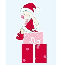 rabbit - santa claus with gifts vector image