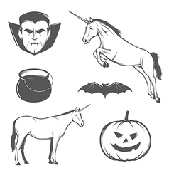 Set of halloween characters and design elements vector image