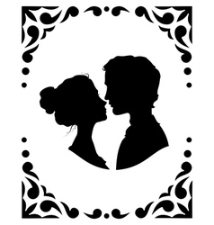 Silhouettes of loving couple vector image vector image