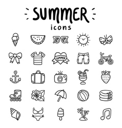 Summer icons outlined vector image