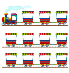 Train and many carts on track vector