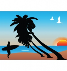 tropical surfer vector image