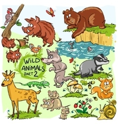 Wild animals hand drawn collection part 2 vector image vector image