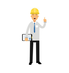construction engineer or foreman in hard hat vector image