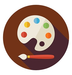 Flat Colorful Palette with Paintbrush Circle Icon vector image vector image