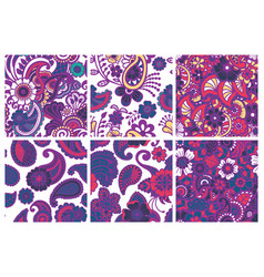 paisley seamless colorful patterns vector image vector image
