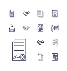 13 contract icons vector