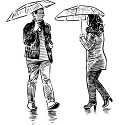 A casual urban pedestrians in rain vector