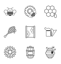 apiculture icons set outline style vector image