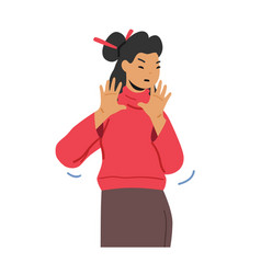asian woman in casual clothes showing refusal vector image