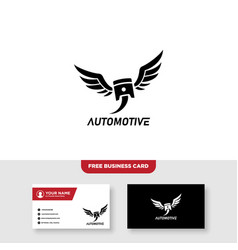Auto wing logo design and business card template vector