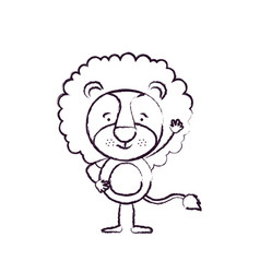 Blurred silhouette caricature of cute lion vector