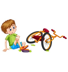 Boy fallen off the bicycle vector