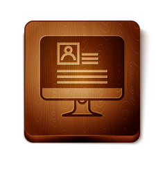Brown computer monitor with resume icon isolated vector