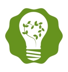 Bulb with leafs plant ecology icon vector